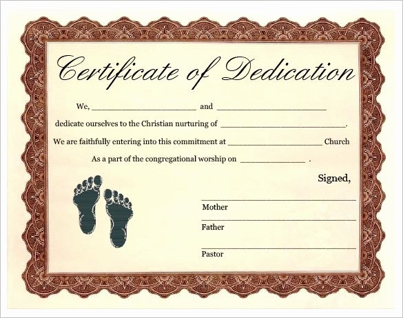 Free Printable Baptism Certificate Luxury Baby Dedication Certificate Templates – 20 Free Word Pdf
