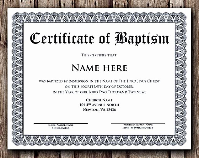 Free Printable Baptism Certificate New Baptism Certificate Word Editable Template Selecting