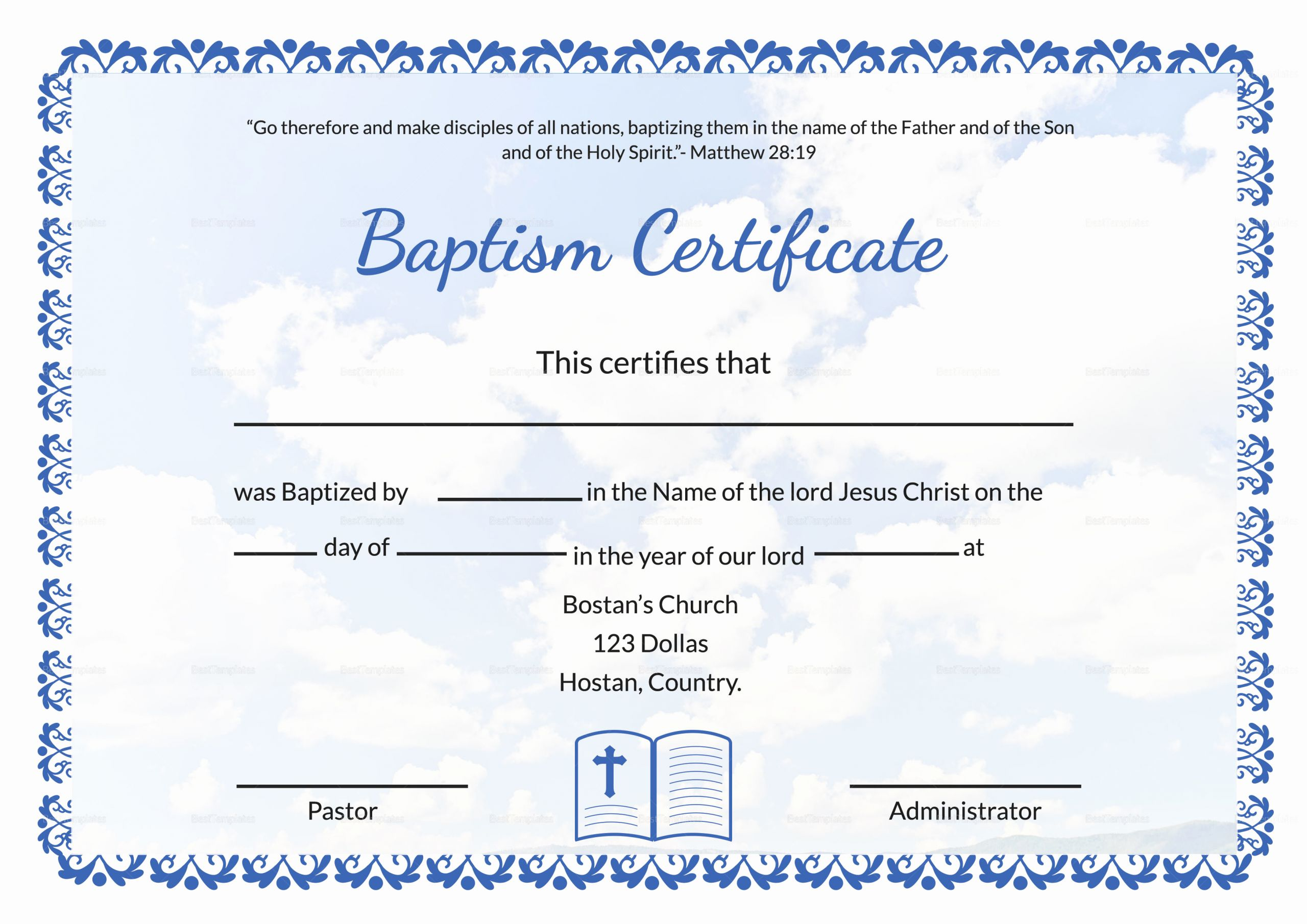 Free Printable Baptism Certificates Templates Elegant Editable Baptism Certificate Template In Adobe Shop
