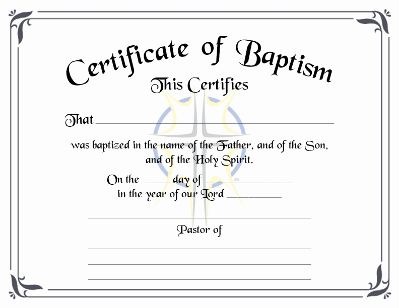 Free Printable Baptism Certificates Templates New Baptismal Certificate the Bible Fellowship Church