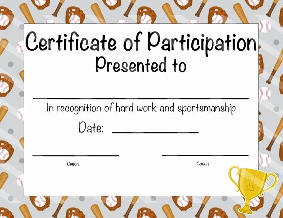 Free Printable Baseball Certificates Best Of Baseball Certificate Of Participation Baseball Award