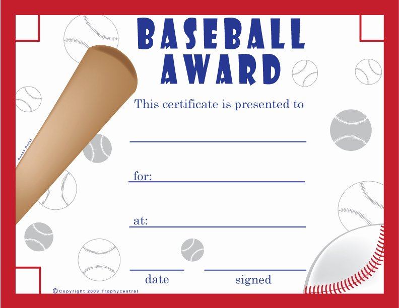 Free Printable Baseball Certificates Fresh Free Baseball Certificates Certificate Free Baseball