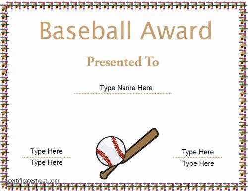 Free Printable Baseball Certificates Inspirational Certificate Street Free Award Certificate Templates No