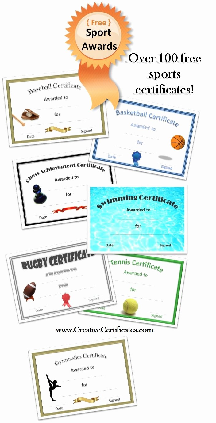 Free Printable Baseball Certificates Inspirational Free Printable Sport Certificates Over 100 Available