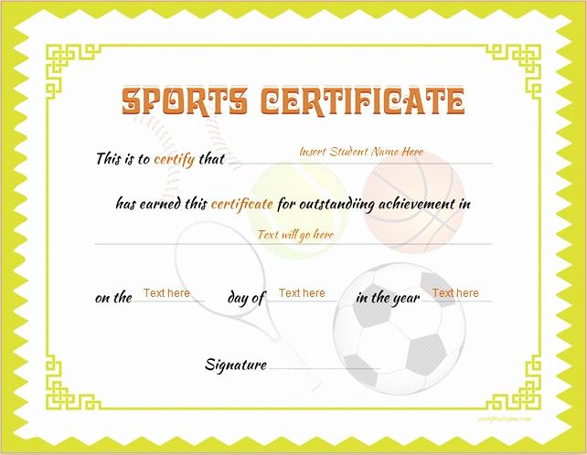 Free Printable Baseball Certificates Lovely Sports Certificate Templates for Ms Word