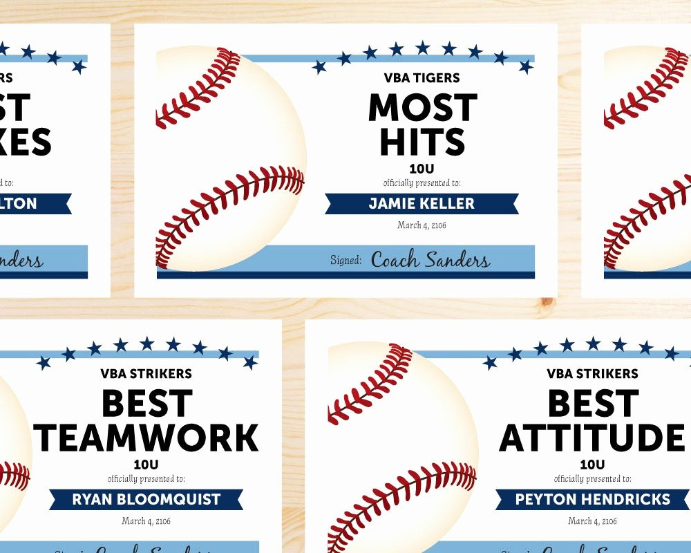 Free Printable Baseball Certificates Unique Editable Baseball Award Certificates Instant Download