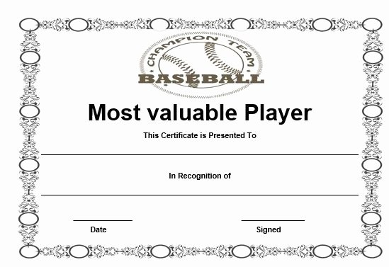 Free Printable Baseball Certificates Unique Free Baseball Mvp Certificate Template