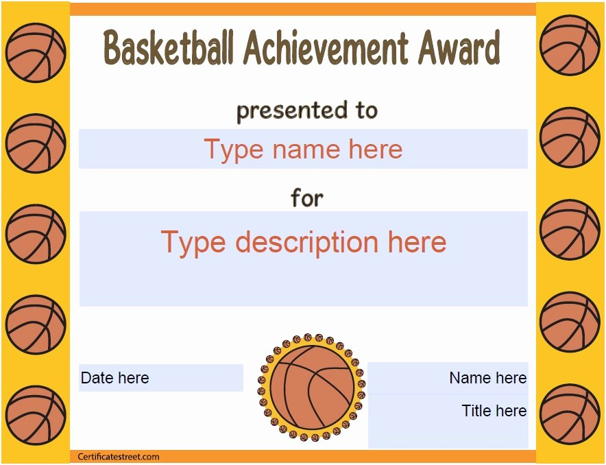 Free Printable Basketball Certificates Beautiful 13 Free Sample Basketball Certificate Templates