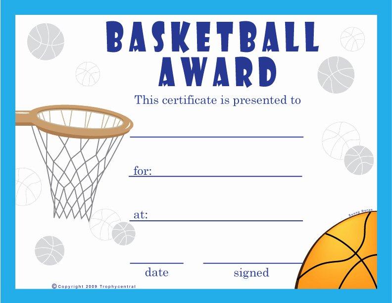 Free Printable Basketball Certificates Fresh Free Basketball Certificates Certificate Free Basketball
