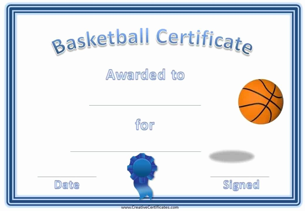 Free Printable Basketball Certificates Fresh Free Editable Basketball Certificates