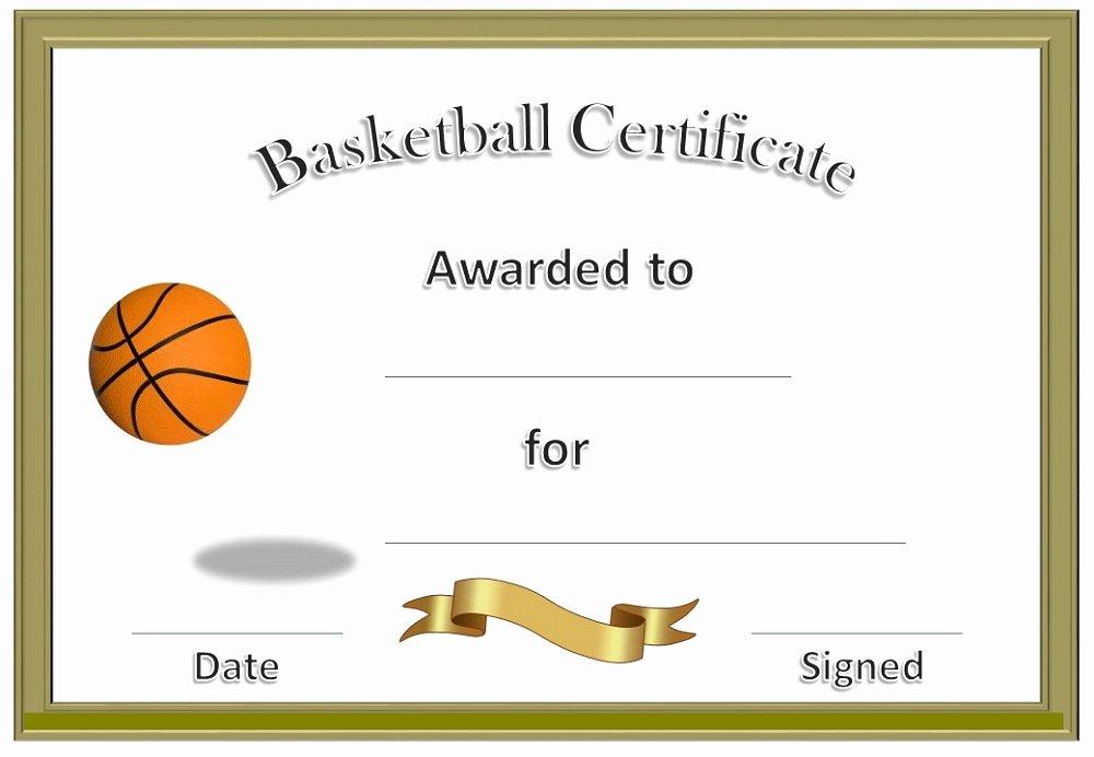 Free Printable Basketball Certificates Inspirational Basketball Award Certificate to Print