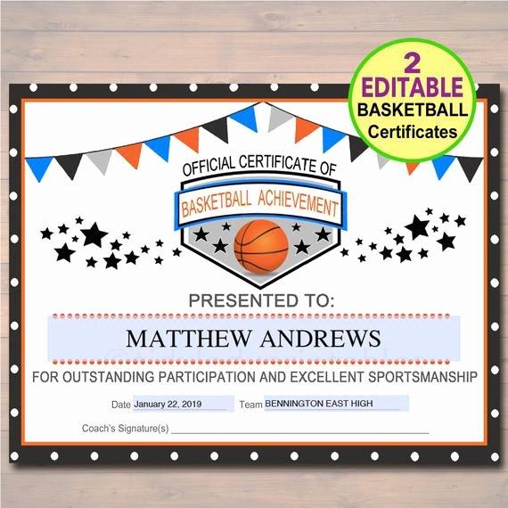 Free Printable Basketball Certificates Luxury Editable Basketball Certificates Instant Download Basketball