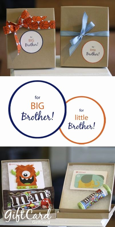 Free Printable Big Sister Certificate Elegant Matching Gift Cards for New Baby and Big Brother