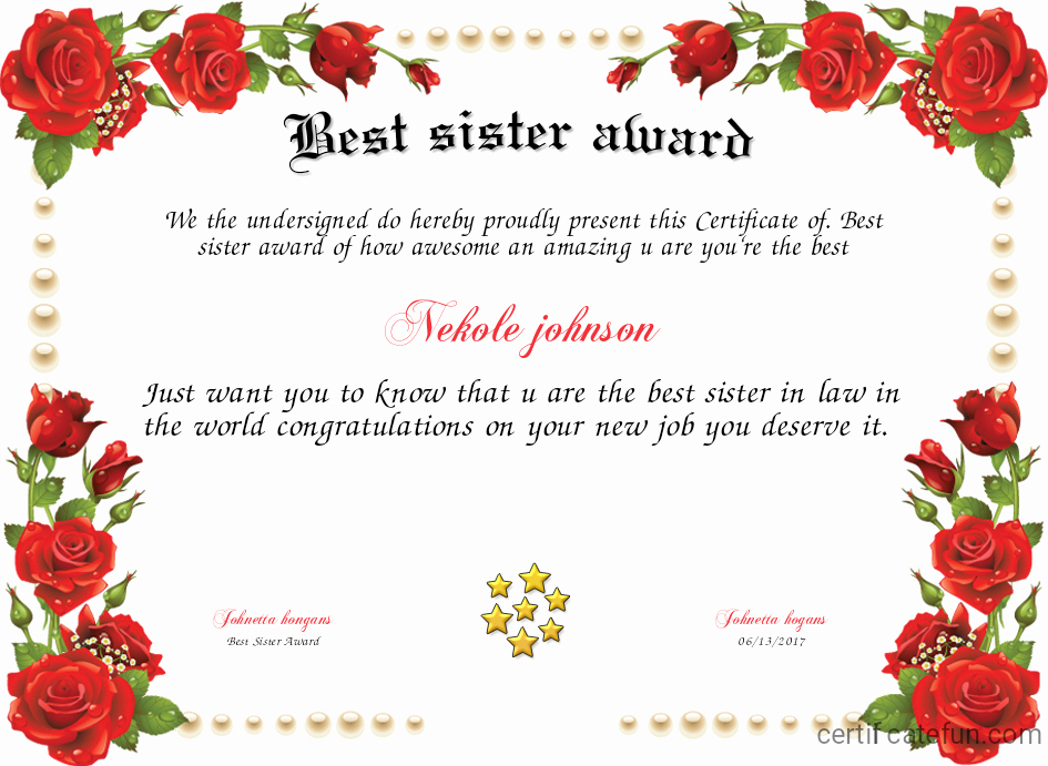 Free Printable Big Sister Certificate Lovely Best Sister Award Certificate