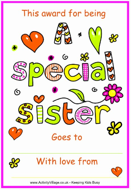 Free Printable Big Sister Certificate Lovely Special Sister Certificate