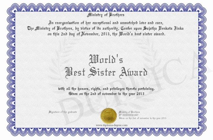 Free Printable Big Sister Certificate Lovely World S Best Sister Award