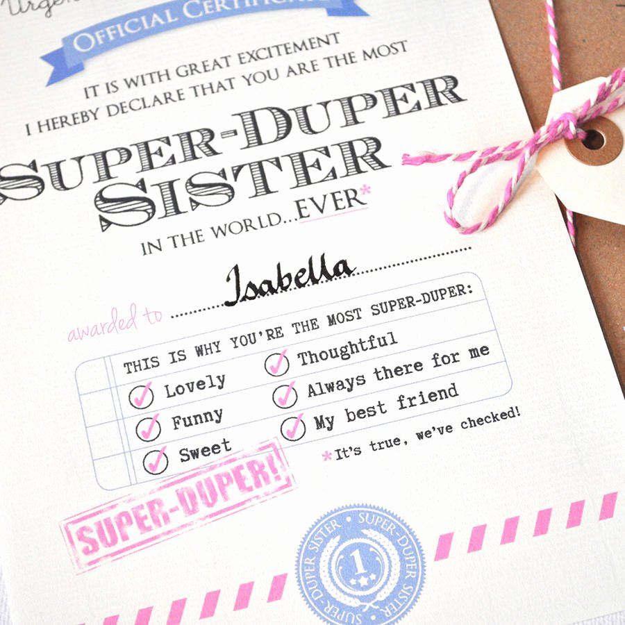 Free Printable Big Sister Certificate New Personalised Best Sister Certificate by Eskimo Kiss