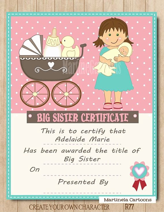 Free Printable Big Sister Certificate Unique Personalized Big Sister Certificate Digital Printable