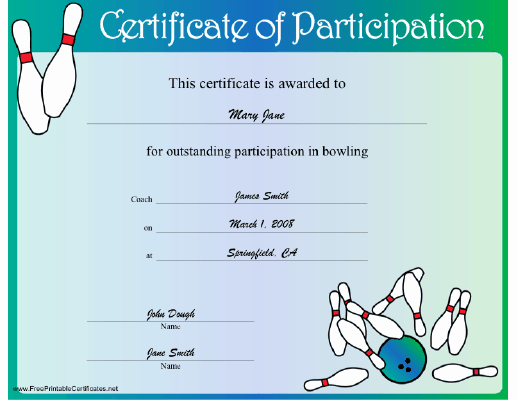 Free Printable Bowling Certificates Awesome Bowling Participation Certificate Printable Certificate