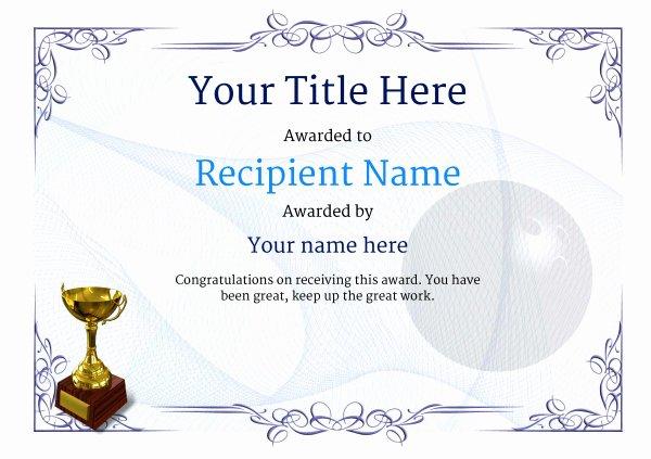 Free Printable Bowling Certificates Elegant Free Ten Pin Bowling Certificate Templates Inc Printable