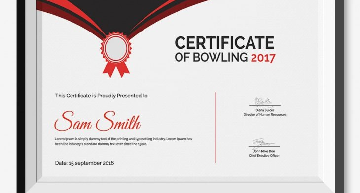 bowling certificate templates