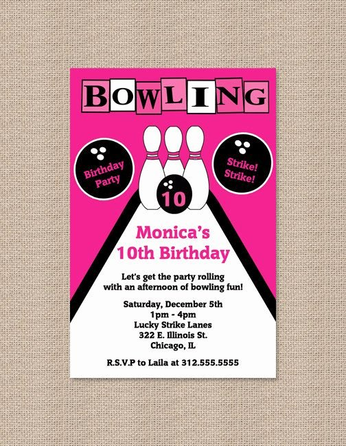Free Printable Bowling Certificates Luxury Printable Pink Bowling Party Invitations