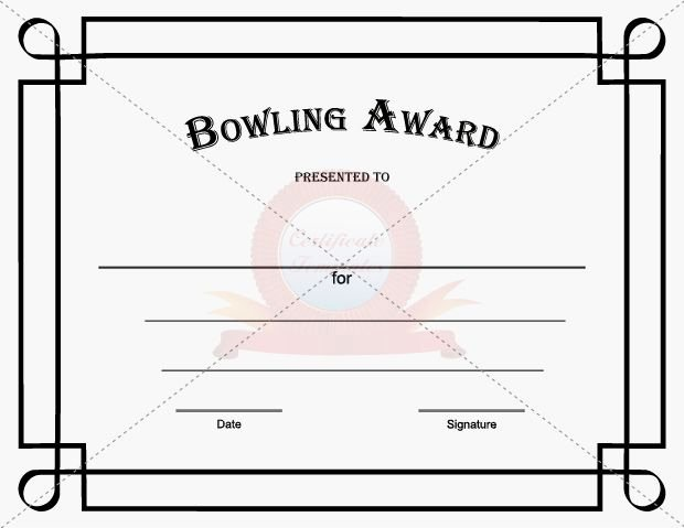 Free Printable Bowling Certificates New Bowling Award Template Certificate Template