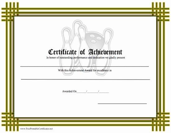Free Printable Bowling Certificates Unique Certificate Of Achievement Bowling Printable Certificate