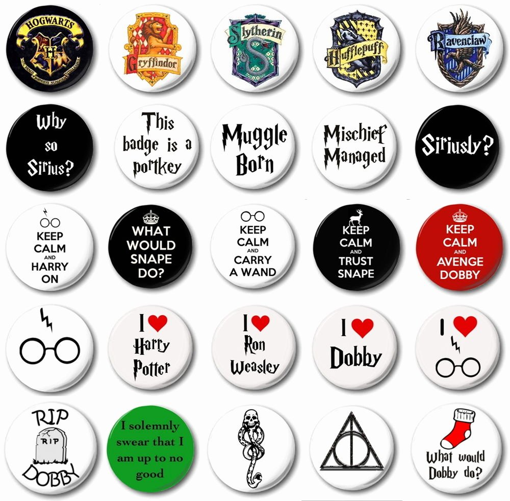 """Free Printable button Templates Lovely Harry Potter Various Designs 1"""" 25mm button Badge"""