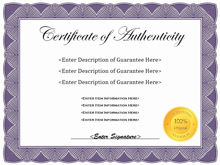 Free Printable Certificate Of Authenticity Templates Inspirational 7 Free Sample Authenticity Certificate Templates