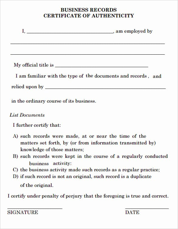 Free Printable Certificate Of Authenticity Templates Luxury Certificate Of Authenticity Template Certificate