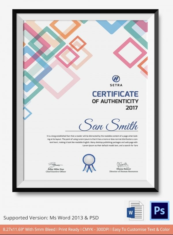 Free Printable Certificate Of Authenticity Templates New Certificate Of Authenticity Template 27 Free Word Pdf