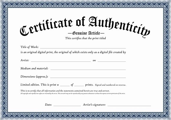 Free Printable Certificate Of Authenticity Templates Unique Certificate Of Authenticity Of An original Digital Print