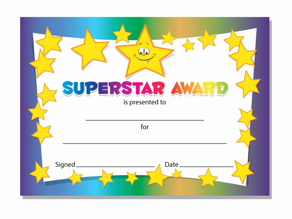 Free Printable Certificates for Students Beautiful Superstar Award Certificates Schools Teachers Kids