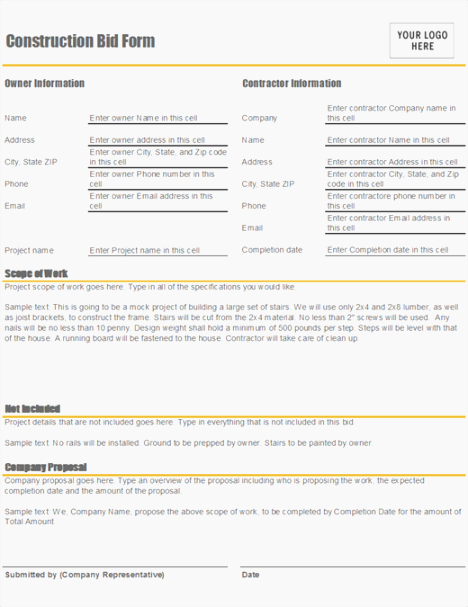 Free Printable Contractor forms Beautiful 40 Gargantuan Free Printable Contractor Bid forms