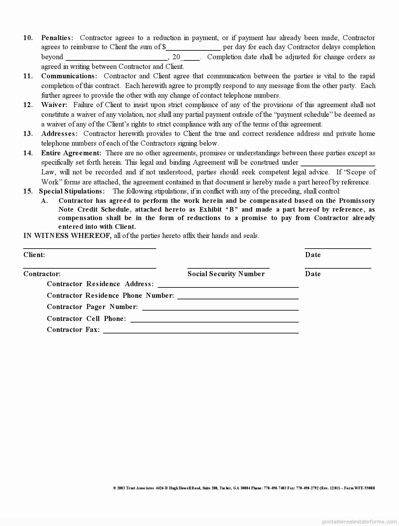 Free Printable Contractor forms Elegant Free Printable Independent Contractor Agreement form