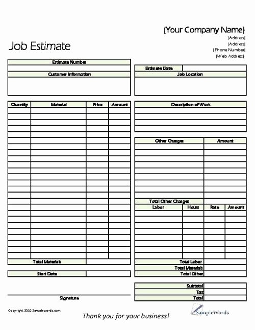 Free Printable Contractor forms Inspirational Estimate Printable forms & Templates