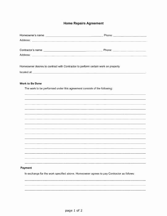 Free Printable Contractor forms Luxury Home Repairs Agreement Between A Homeowner and A