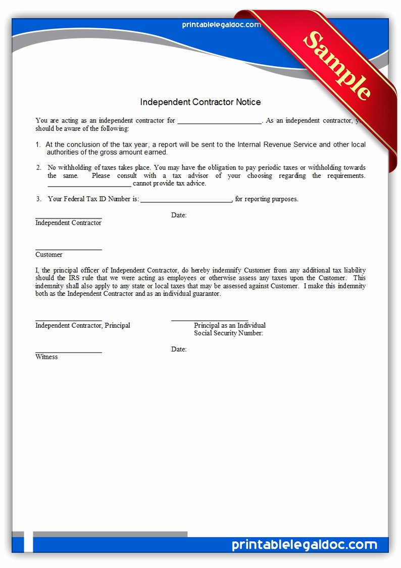 Free Printable Contractor forms New Free Printable Independent Contractor Notice form Generic