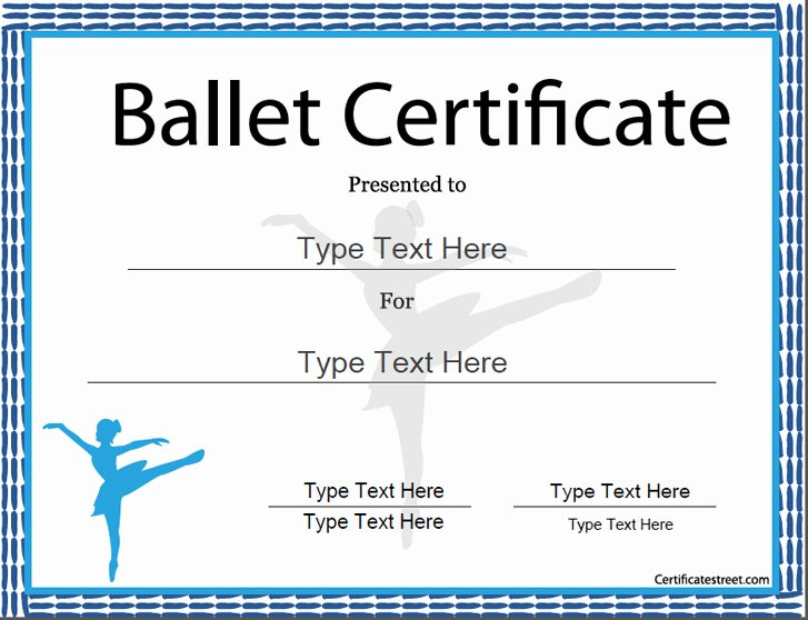 Free Printable Dance Certificates Beautiful Sports Certificates Award Template for Ballet