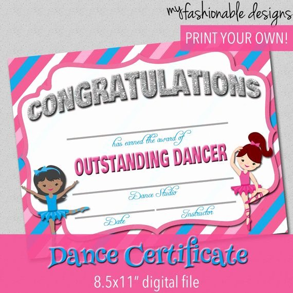 Free Printable Dance Certificates Best Of Dance Certificate Dance Award Ballet Certificate