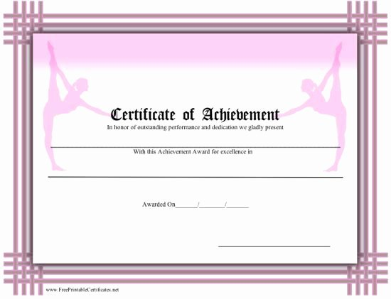 Free Printable Dance Certificates Inspirational A Printable Certificate Of Achievement for Ballet