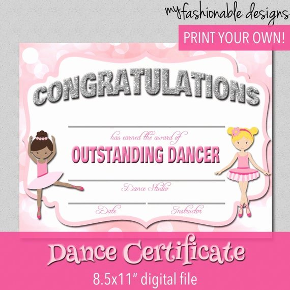 Free Printable Dance Certificates Luxury Items Similar to Dance Certificate Print Your Own