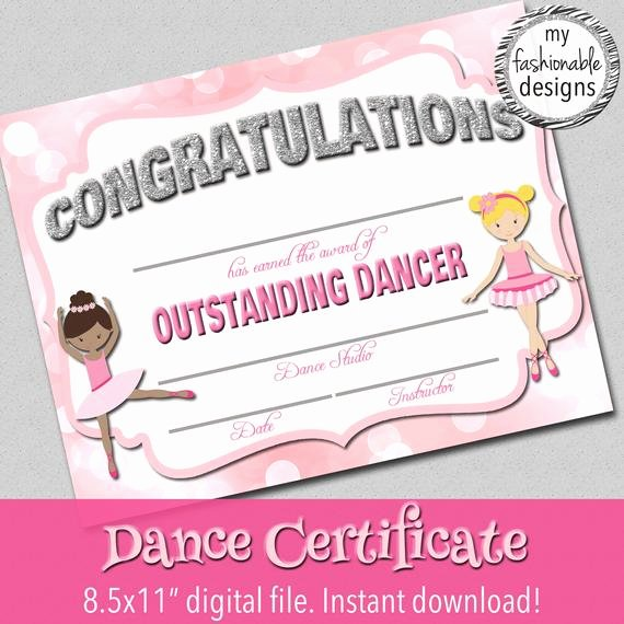 Free Printable Dance Certificates New Dance Certificate Print Your Own Instant Download