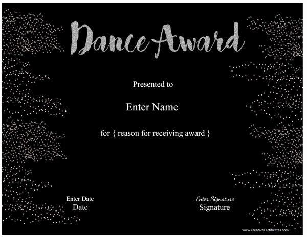 Free Printable Dance Certificates Unique Free Dance Certificate Template Customizable and Printable