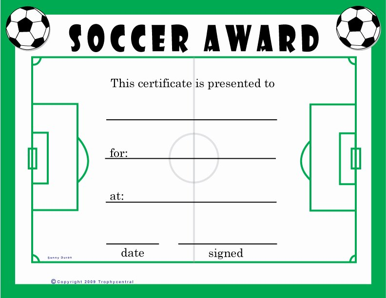 Free Printable Football Certificates Inspirational Free soccer Certificates Certificate Free soccer