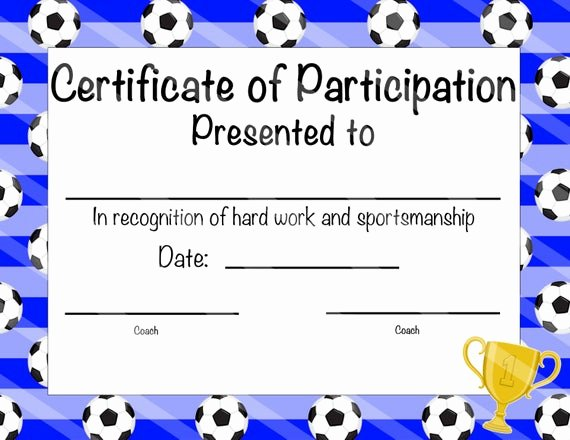 Free Printable Football Certificates Inspirational soccer Certificate Of Participation soccer by