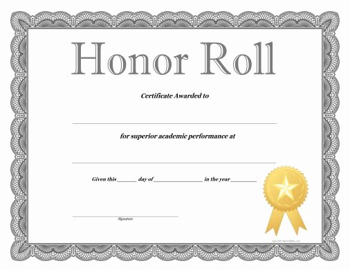 Free Printable Honor Roll Certificates Beautiful Honor Roll Certificate Free Printable Allfreeprintable