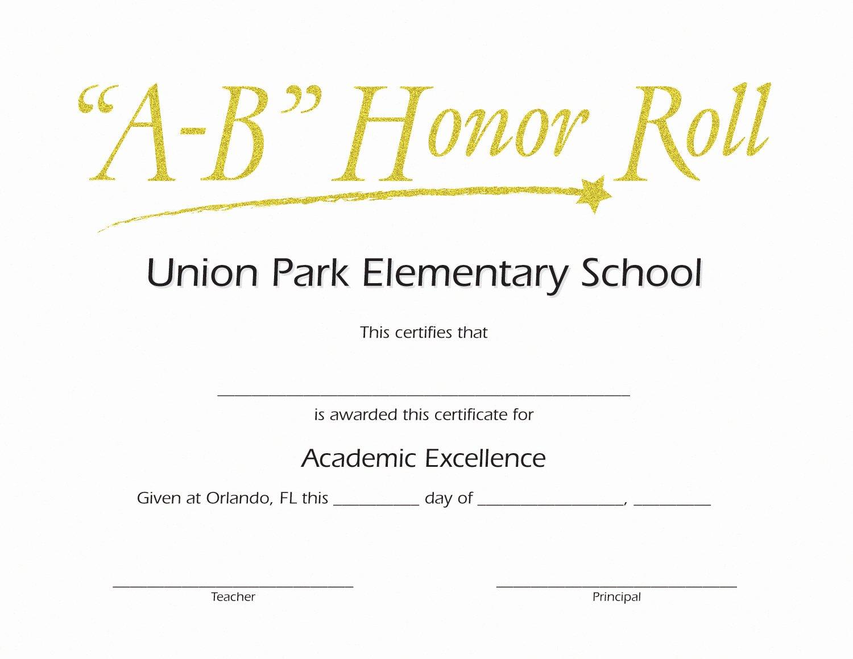 Free Printable Honor Roll Certificates Fresh Ab Honor Roll Custom Certificate Jones School Supply