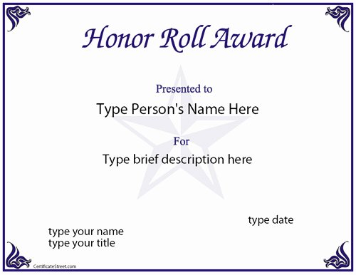 Free Printable Honor Roll Certificates Unique Education Certificates Honor Role Award